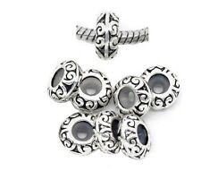 20pcs Dark Silver /P European Stopper Rubber Charm Beads 2.9mm Fit Bracelet K25