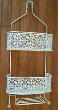 Vintage Ornate White Metal Bathroom 2 Tier Wall Shelf Caddy w/Soap Platform (d3)