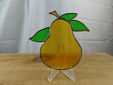 🌞🍐 Vintage SUN CATCHER Pear Leaded Stained Glass window yellow green whimsy