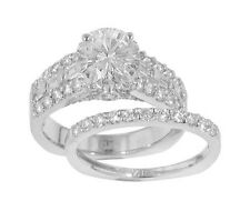 3.03 ct Ladies Round Cut Diamond Engagement Ring With Wedding Band Set 18 kt