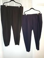 2 PR lot TALBOTS 22W Skinny Ankle Pull On Black and navy Pants Career Separates