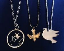 Lot of 3 Delicate Dove Bird Pendant Necklaces