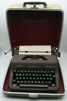 Royal Quiet DeLuxe Manual Typewriter Gray Body, Green Keys w/Tweed Case and KEY!