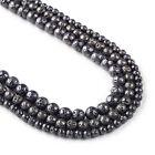 "Gun Metal Black Lava Beads 6 8 10mm Wholesale Mala Beads 15"" Full Strand 103034"