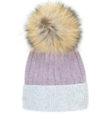 Colorblock Women's Beanie Hat with Fur Pom-pom in Lavender & Gray Winter Hat