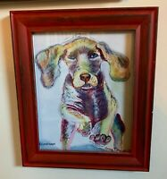 "Weimaraner Puppy Dog 8""x10"" Watercolor Pastel Painting Print Framed Signed Art"
