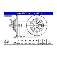 2 St. ATE 24.0122-0223.1 Bremsscheibe   für Audi A6 A6 Avant