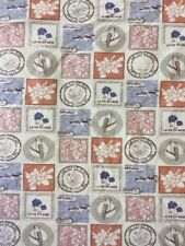 Natural Vintage Garden Stamps Cotton Print Fabric By The Metre