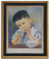 Original Pastel Painting Signed Framed Japanese Boy with Chopsticks & Rice Bowl