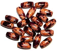 "W13 Brown ""Fern"" Art Design 14mm Tapered Oval Wood Beads 20/pkg"
