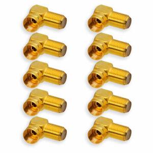 10x SAT F-Stecker 90° Winkelstecker vergoldet Koaxialkabel F-Buchse > F-Stecker
