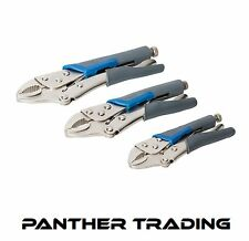 Silverline Self-Locking Soft-Grip Pliers Set 3pce Grip Vice Piece Hand - 675268
