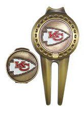 Kansas City (KC) Chiefs Hat Clip & Divot Tool with Golf Ball Marker Combo