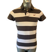 Hollister Polo T Shirt  Mens  M Medium  White & Dark Grey Hoops  Cotton