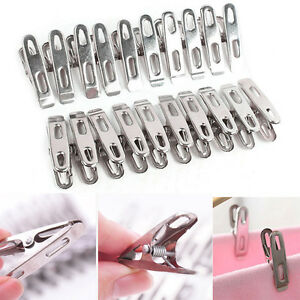 20Stainless Steel  Washing Line Clothes Pegs Hang Pins Clips Windproof Clamps JB