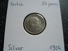 More details for 1904 serbia rare silver 50 para - petar i xf /203/f