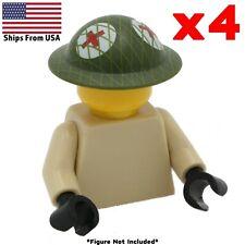 LEGO WWII British Medic Brodie Helmet Printed 4 Pack Army Soldier Military Lot