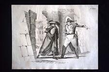 Incisione d'allegoria e satira Civitavecchia, Francia, Clero Don Pirlone 1851