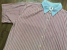 Vintage Bill Blass American Flag Shirt MEN'S LARGE Red White Blue Stars Stripes