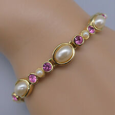Joan Rivers Faux Pearl and Pink Rhinestone Link Bracelet, Signed