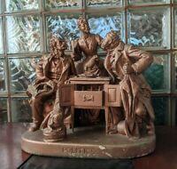 """Great HUGE Vintage John Rogers Group Statue """"Politics"""" Plaster Mantle Sculpture!"""