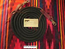 9' BLACK Trail Training Yacht Rope Loop Reins Leathers Snaps by Rose Lodge USA