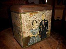 Queen Elizabeth wedding JUBILEE 1952 Biscuit Tin tea caddy rare item needs TLC