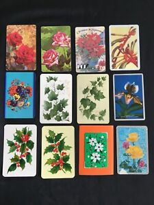 Lot of 12 X Vintage Swap / Playing Cards - Flowers /  Plants / Leaves