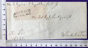 Bayern Vorphila Cover Brief ohne Inhalt Zweizeiler Ansbach / Windsheim 17.2.1835