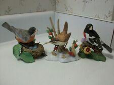 Vintage Lenox Porcelain Bird Figurines Lot of 3 Robin, Marsh Wren, Rose Grosbeak