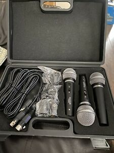 Soundlab 3 Dynamic Vocal Karaoke Mic Kit + Carry Case + 3 x 2.8m Leads B STOCK
