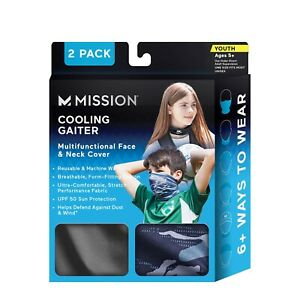 Mission Cooling Neck Gaiter Face/Neck Cover Youth Age 5+ Blue/Camo 2-pack NEW
