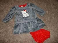 Gymboree Baby Girls Velour Westie Dog Dress Set Size 0-3 3-6 Months mos NWT NEW