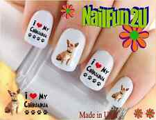 "RTG Set#122 DOG BREED ""Love Chihuahua Brown"" WaterSlide Decals Nail Art Transfer"
