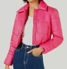 241 Bar Iii Womens Pink Cropped Puffer Jacket Winter Coat Size L Repaired