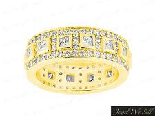 1.85Ct Princess Diamond Wedding Eternity Band Ring 14k Yellow Gold H SI2 Channel