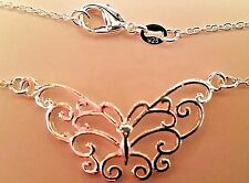 Butterfly Pendant Necklace 925 Silver 18""