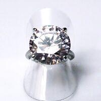 Großer Solitär Zirkonia 15 mm Damen Ring rhodiniert 18,4 mm B-Ware
