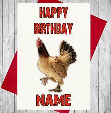 Personalised Chicken Hen Farm Birthday Card - Mum Dad Son Daughter Grandad Nan