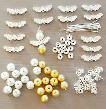 12 x GUARDIAN ANGEL CHARM MAKING KIT bright silver wings beads rhinestones pins