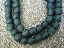 Strang Altglasperlen 10-11 mm anthrazit Recycled Glass Beads Ghana Krobo