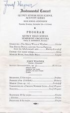 Pianist & Composer JOSEF WAGNER 1940s SIGNED PROGRAM