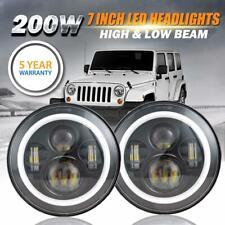 "2X 7"" CREE LED Headlight Halo DRL Angel Eyes For International Harvester Hummer"