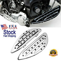 Chrome Deep edge cut Driver Stretched Floorboards for Harley Glide softail AF2
