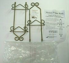 Wrought Iron 3 (triple) Plate display Rack wall hanging gold tone scroll design