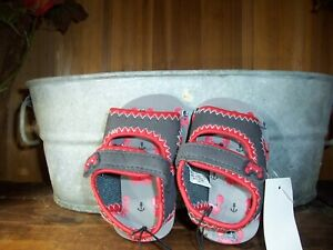 BOYS TODDLER CRAB DESIGN SANDALS SHOES SIZE 4 ANKLE STRAP LIGHT WEIGHT GRAY RED