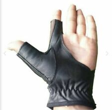 Black Archery Left & Right 2 Finger Bow Glove Adjustable Archers Hunting Glove