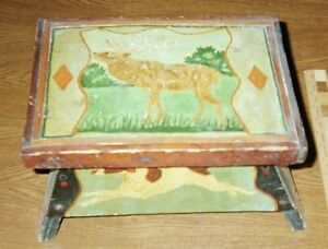 "Painted Wood Footstool: ""STAG, TWO DOGS"", c.1930,"" AS IS"" chip at foot"