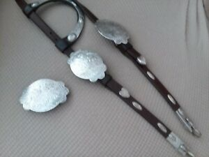 Dark oil vintage sterling overlay headstall with Fleming quick change bit ends