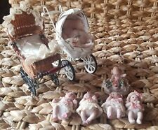 5 Miniature Artisan Maree Massey Porcelain Dolls + 2 Miniture Strollers